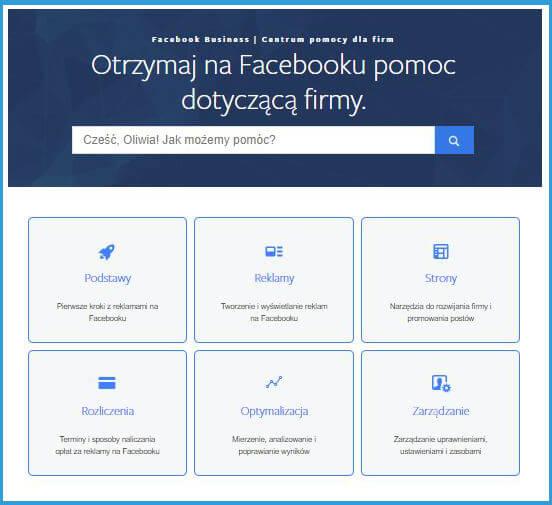 Facebook - pomoc dotycząca firmy