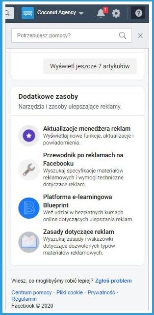 Centrum pomocy Facebooka w menedżerze firmy