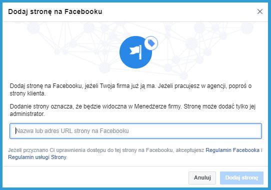 Jak dodać Fanpage do Menedżera Firmy na Facebooku