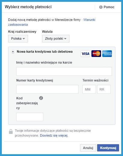 Jak dodać metodę płatności na Facebooku w menedżerze firmy