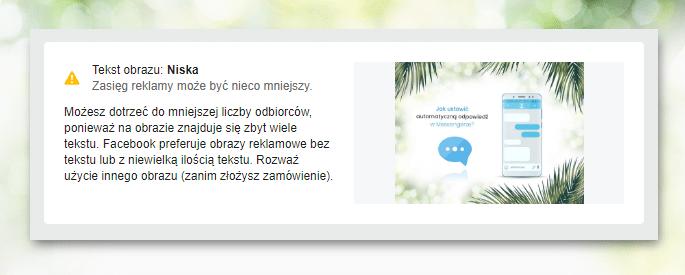Weryfikacja ilości tekstu na grafice - narzędzie facebooka