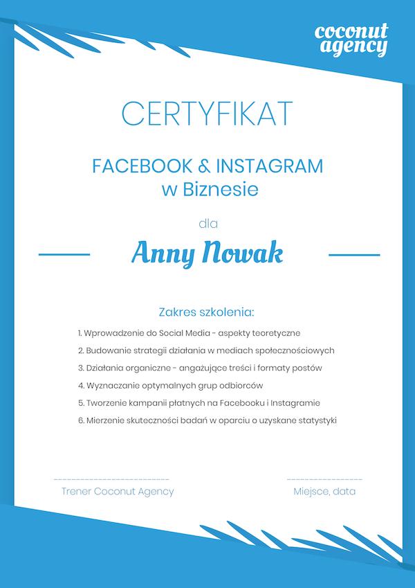 certyfikat uczestnictwa w szkoleniu z social media