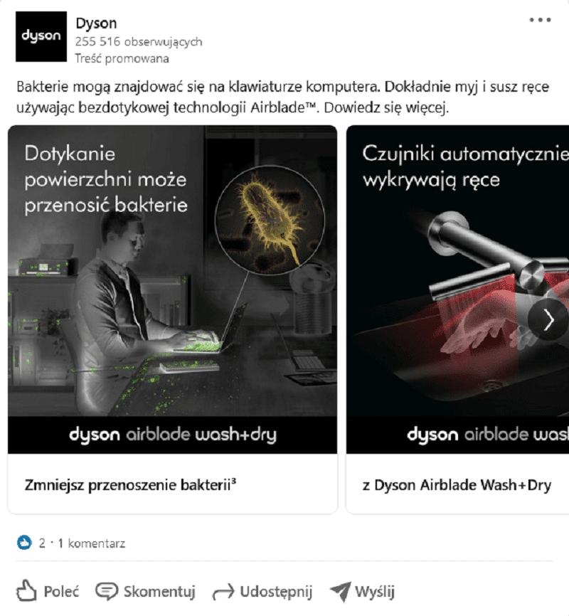 Przykład reklamy na LinkedIn - reklama karuzelowa.