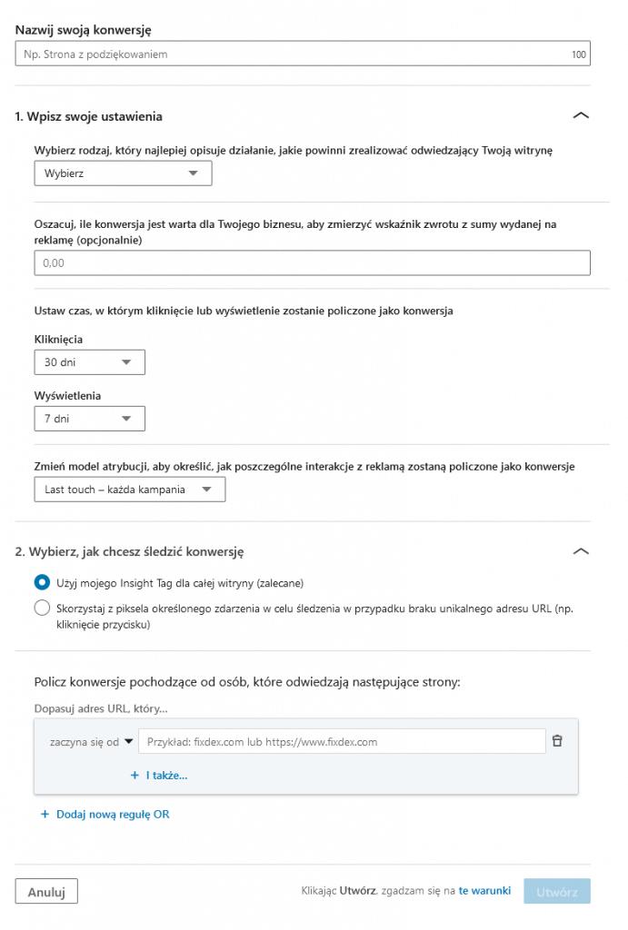 Reklamy na LinkedIn - śledzenie konwersji