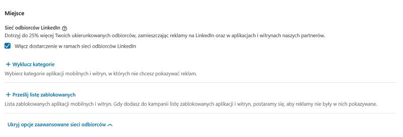 Tworzenie reklam na LinkedIn - umiejscowienie reklam