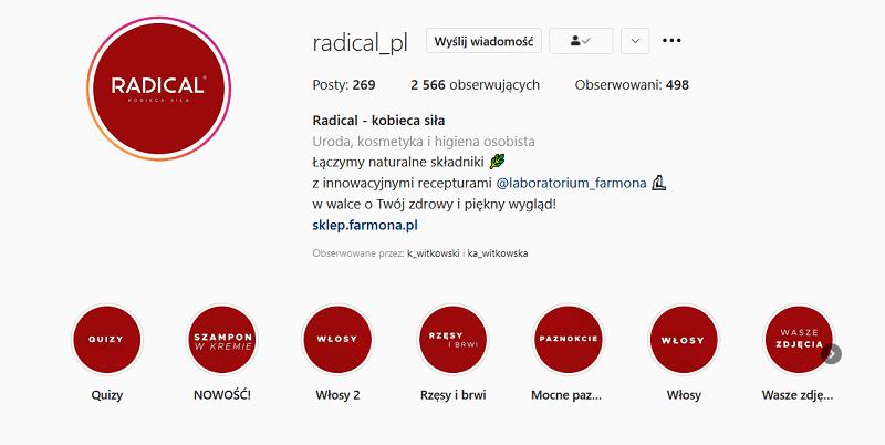 Wyróżnione relacje na Instagramie.