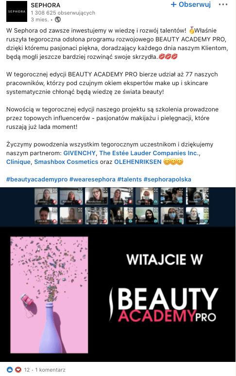 Branża beauty na LinkedIn - przykłady.