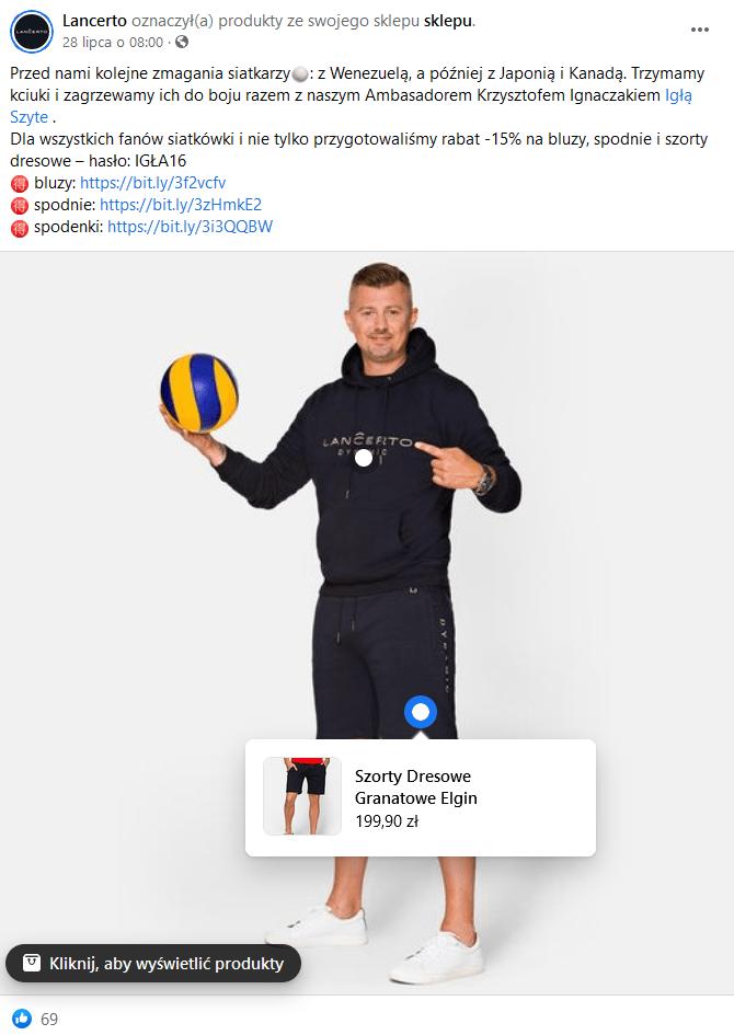 Sklep na Facebooku w branży fashion - oznaczanie produktów.