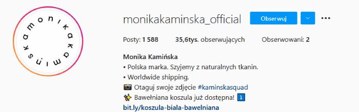 Branża fashion - bio na Instagramie.