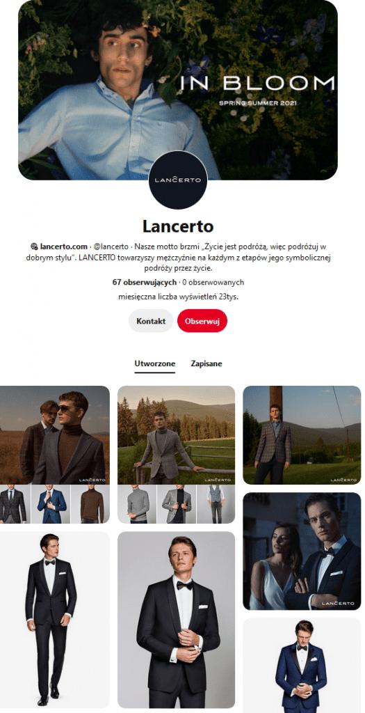 Lancerto w social mediach - marka modowa dla mężczyzn na Pintereście.