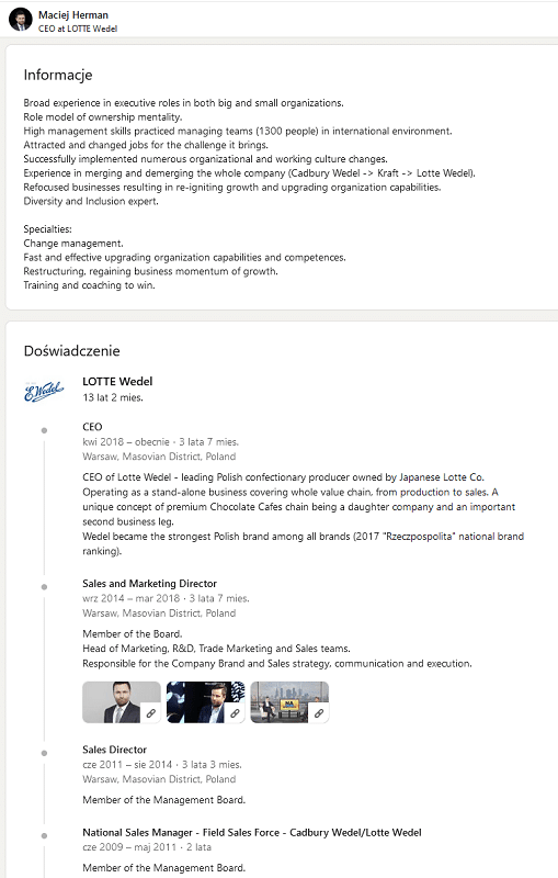 LinkedIn - uzupełniony profil CEO.