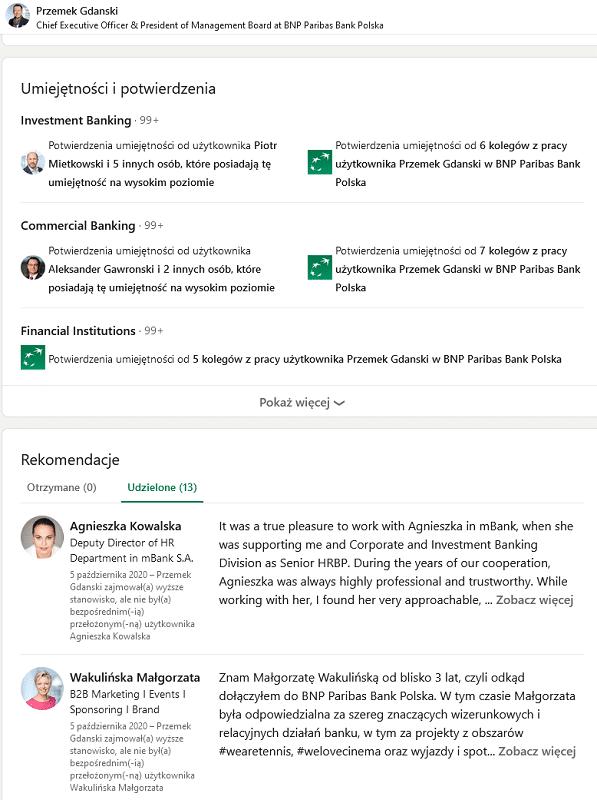 LinkedIn CEO - rekomendacje w profilu osobistym i dla pracowników.