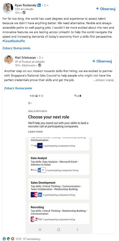 LinkedIn - udostępnianie postów pracowników przez CEO.